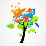 De aardtextuur van het bedrijfs abstracte boomembleem Stock Fotografie