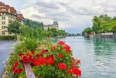 De Aarerivier, vele bloemen op het ijzer schermt en een kalm water op de achtergrond Stad van Thun, kanton Bern, Zwitserland royalty-vrije stock afbeelding