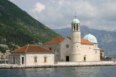 De abdij van de benedictine in Perast Stock Afbeelding