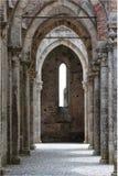 De Abdij van San Galgano, Toscanië, Italië Stock Foto