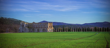 De Abdij van San Galgano, Toscanië Royalty-vrije Stock Foto's