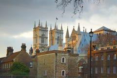 De abdij van Westminster: achter straatmening, Londen Stock Fotografie