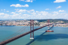 25 de Abril (April) Bridge in Lisbon - Portugal Stock Photos