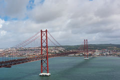 25 de Abril Bridge Stockbild