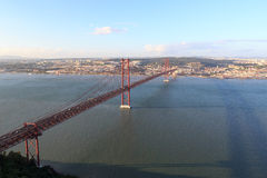 25 de Abril Bridge in Lisbon Royalty Free Stock Photography