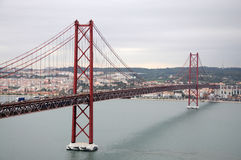 25 de Abril bridge in Lisbon Stock Images