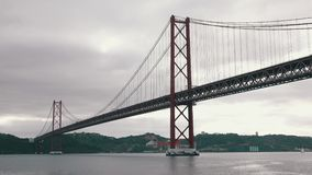 25 de Abril Bridge in Lisbon stock video footage