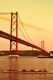 25 de Abril Bridge in Lisbon, Portugal, with a filter effect Royalty Free Stock Images