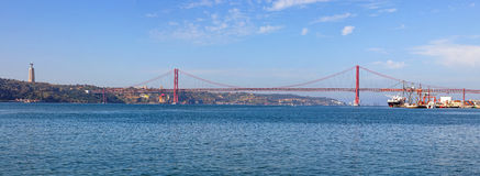 25 de Abril Bridge in Lisbon stock photos