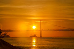 The 25 de Abril Bridge in Lisbon, Portugal Royalty Free Stock Image