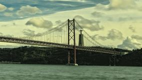25 de Abril Bridge in Lisbon, Portugal stock footage