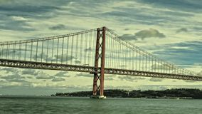 25 de Abril Bridge in Lisbon, Portugal stock video footage