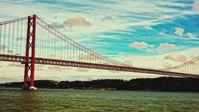 25 de Abril Bridge in Lisbon, Portugal stock video
