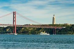 25 de Abril Bridge, Lisbona Fotografia Stock Libera da Diritti