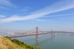 25 de Abril Bridge a Lisbona Fotografia Stock Libera da Diritti