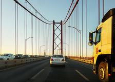 25 De Abril Bridge, Lisbonne, Portugal Images stock