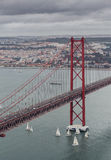 The 25 de Abril Bridge in Lissabon, Portugal Royalty Free Stock Image