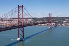 The 25 de abril bridge over river tejo Royalty Free Stock Photography