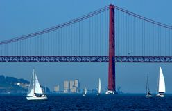 25 de abril bridge over Tagus river in Lisbon stock photos