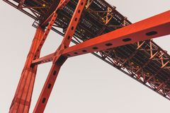 The 25 de Abril Bridge over the Tagus river in Lisbon royalty free stock photography