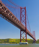 The 25 de Abril Bridge. Royalty Free Stock Photos