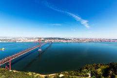 25 de Abril Cable-stayed Bridge over Tagus River Royalty Free Stock Photo