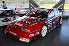 21 de abril de 2018: Campeonato ex de Alfa Romeo 155 V6Ti 1995 DTM exposto no festival 2018 da legenda do motor em Imola Circuit imagem de stock