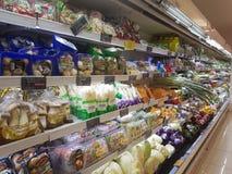 20 de abril de 2017 Kuala Lumpur Exposição do alimento em Jaya Grocer Supermarket foto de stock