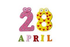 28 de abril, en un fondo blanco hecho de números y de letras Fotos de archivo libres de regalías