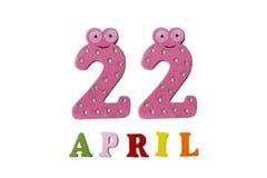 22 de abril, en un fondo blanco hecho de números y de letras Imágenes de archivo libres de regalías