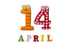 14 de abril en un fondo blanco de números y de letras Fotografía de archivo libre de regalías