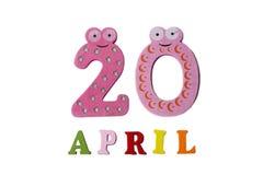 20 de abril en un fondo blanco de números y de letras Fotos de archivo