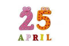 25 de abril en un fondo blanco de números y de letras Foto de archivo libre de regalías