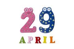 29 de abril en un fondo blanco de números y de letras Foto de archivo libre de regalías