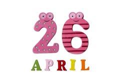 26 de abril en un fondo blanco de números y de letras Fotos de archivo libres de regalías