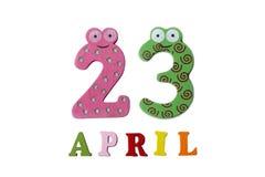 23 de abril en un fondo blanco de números y de letras Imágenes de archivo libres de regalías