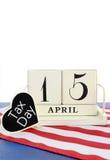 15 de abril lembrete do calendário para o dia do imposto dos EUA Fotografia de Stock
