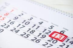 13 de abril marca en el calendario Foto de archivo libre de regalías