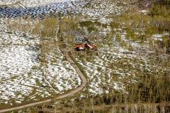 27 de abril de 2017 - MESA de HASTINGS cerca de RIDGWAY Y del TELURURO COLORADO - antena - invierno en Ridgway, escena tranquila Fotografía de archivo libre de regalías
