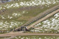 27 de abril de 2017 - MESA de HASTINGS cerca de RIDGWAY Y del TELURURO COLORADO - antena del invierno en Paisaje, Ridgway Imagen de archivo