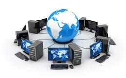 De abstracte aarde, netwerk verbindt en vele computers royalty-vrije illustratie