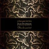 De abstracte achtergrond met antiquiteit, het luxe zwarte en gouden uitstekende kader, victorian banner, vlinders op kant haken, vector illustratie