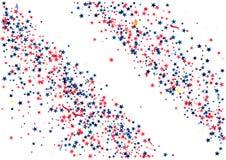 De abstracte achtergrond met vliegend rood blauw zilver speelt geïsoleerde confettien mee Leeg feestelijk malplaatje voor de patr Royalty-vrije Stock Afbeeldingen