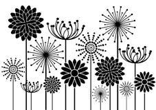 De abstracte achtergrond van bloemensilhouetten Royalty-vrije Stock Foto's