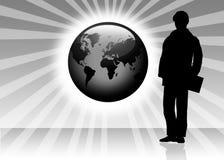 De abstracte achtergrond van de bol en van het silhouet stock illustratie