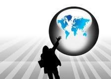 De abstracte achtergrond van de bol en van het silhouet Royalty-vrije Stock Afbeelding