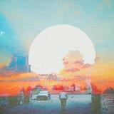 De Abstracte Achtergrond van de fantasieecologie Stedelijk die Landschap met Natuurlijk op Document Textuur wordt gemengd royalty-vrije illustratie