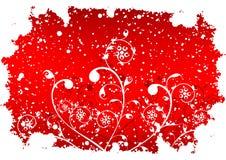 De abstracte achtergrond van de grungewinter met vlokken en bloemen in rood Stock Foto's