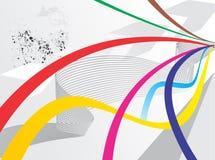 De abstracte achtergrond van de regenbooggolf met grunge Stock Afbeelding