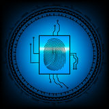 De abstracte Achtergrond van de Technologie Veiligheidssysteemconcept met vingerafdruk EPS 10 vectorillustratie Stock Afbeeldingen